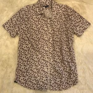 Express mens floral button up shirt